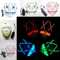 Led Halloween Ghost Masks The Purge Movie EL Wire Glowing Ma...
