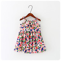 2016 summer baby girls kids Printing princess dress bourette...