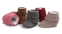 New Winter snow Boots 2 Layer Tassels Baby Moccasins Newborn...