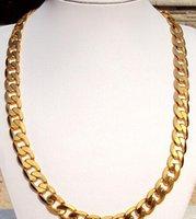 الجملة - الثقيلة كول 24 كيلو الذهب الأصفر الحقيقي لينك مينس سلسلة 12 ملليمتر واسعة قلادة 23.5 100٪ الذهب الحقيقي ، وليس الصلبة وليس المال