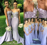 Lavender Bridesmaid Dresses Sweetheart Neck Mermaid Prom Gow...