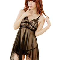 Venta al por mayor- Mujeres Sexy Summer Lace Skirt Ding G-string Lencería Vestido camisón Robe Femme ropa de dormir