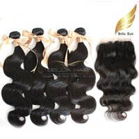 Brazilian Virgin Human Hair Weaves With Top Closures 4pc Hai...