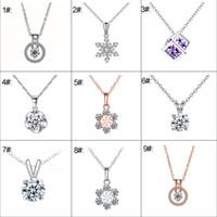 MLJY Cristal Collier Pendentif 925 Argent Collier 9 Styles Chaîne Collier Femmes Bijoux Exquis pour Accessoires De Mariage Cadeau
