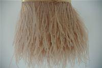 10 jardas / lot marfim taupe luz taupe pena de avestruz aparar franja 5- 6 polegadas de largura para casamentos festa decoração festiva