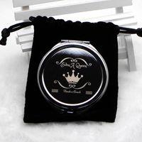 Miroir compact personnalisé gratuit miroir de poche gravé personnalisé en argent chrome + sac de velours noir M0832 Livraison gratuite