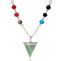 Специальные семи чакра символ ожерелье йога ожерелье Reiki Energy Triangle натуральный драгоценный камень подвесной на 8 мм полудимуальный ожерелье из чакры