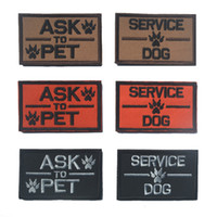 New ASK to pet patches service dog embroidered hook back mor...