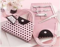 Set da manicure per unghie a forma di borsa a forma di borsa da donna rosa a pois Set da sposo per doccia da sposa Bomboniera e regalo ZA4456