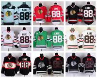Chicago Blackhawks 88 Patrick Kane Jersey Spor Buz Hokeyi Kış Klasik Ev Kırmızı Alternatif Beyaz Yeşil Siyah Buz Kafatası