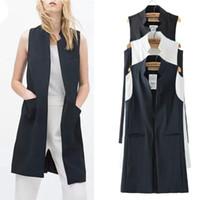 도매 여성 흰색 검은 색 긴 조끼 코트 Europen 스타일 조끼 민소매 자켓 돌아 가기 분할 착실히 보내다 캐주얼 최고 Roupa 여성