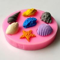 Estrela do mar e conchas moldes fondant, argila de resina molde de silicone bolo de chocolate doces, fondant ferramentas de decoração do bolo TY1811