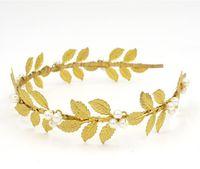 Accesorios para el cabello de tocador de novia Hoja de oro con perlas Joyería para el cabello Tiaras de la boda Accesorios para el cabello nupcial BW-HP404