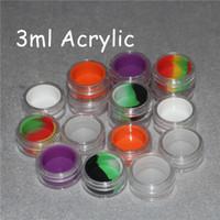 Scatola di plastica trasparente acrilico per cera 3ml acrilico bho barattoli di silicone vasetti di silicone per cera vaporizzatore contenitori di olio in silicone