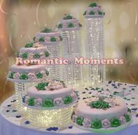 무료 배송 생일 6pcs 케이크 홀더 크리스탈 케이크 스탠드 결혼식 생일 연회 중심 장식 케이크 디스플레이 웨딩 장식