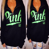 Love Pink Hoodies For Women Fashion Letter Print Slim Zipper...