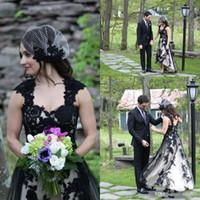 Diseño 2016 Vestidos de boda de campo Cap manga Alto Bajo Encaje Apliques Vestidos de boda góticos baratos Espalda abierta Vestido de novia de longitud de té