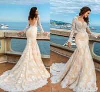 2017 New Sexy Blush Pink Mermaid Wedding Dresses Jewel Neck ...