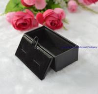 Оптовая черный кожаный Mens Роскошные Запонки Box Подарочные чемодан на заказ логос Accept Шкатулки свободная перевозка груза