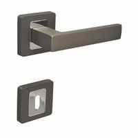 RK0715TBCP Door Lever Handleset Door Handle With Key Hole Escutchoen Black  Nickel And Chrome Color Black