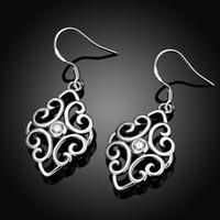 Bestes Geschenk Neue Ankunft Hollow Fashion 925 Ohrringe STPE006, Beste Geschenk Voll Edelstein Damen Sterling Silber Baumeln Kronleuchter Ohrringe
