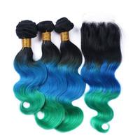 # 1B / Azul / Verde Ombre Feixes de Cabelo Humano 3 Pcs Com 4 * 4 '' Lace Encerramento Três Tom Teal Ombre Extensões de Cabelo Brasileiro Do Cabelo Da Onda Do Corpo Tramas