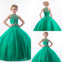 Emerald Green Girls Pageant Klänningar Halter High Neck Tulle Beaded Crystals Kids Appliques Glitz Flower Girls Dresses