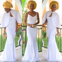 Элегантный Нигерийский Вечерние Платья Белые Женщины Русалка Вечернее Платье С Пиджаком Длинные Vestidos Де Феста Африканский Вечернее Платье