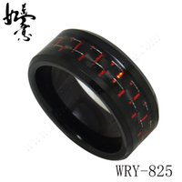 Rote und schwarze Carbon-Faser-Einlegearbeit-schwarze Wolfram-Ring-Bänder für Männer WRY-825 8mm Breite