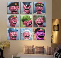 En gros pas cher 9pc portraits chinois à l'huile peinture sur toile par Yue Minjun (avec encadré) Livraison gratuite