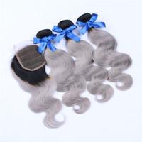 Ломбер человеческих уток волос ткать тела волна 1b / серый 7A бразильский 3 пучки с кружева топ закрытие серебряные наращивание волос 10-30 дюймов