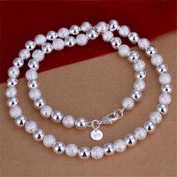 Collar de cuentas de luz de arena de 8 mm al por mayor Collar de plata esterlina STSN086, Nueva Moda 925 Cadenas de plata Collar Venta de fábrica