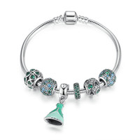 Genuine 925 Sterling Silver Beaded Bangle Charm Bracciali con cristallo verde Pave Hearts Charms Dress Dangles Princess Jewelry BL230