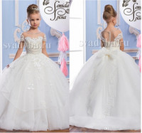 2016 Pearls Lace Sheer Neck Tulle Arabic Flower Girl Dresses...