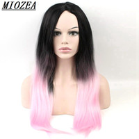 Hair Black Pink Ombre Long Straight Wig Synthetic Hair Heat ...