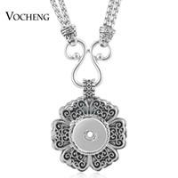 VOCHENG NOOSA Collier Snap Bijoux Vintage Fleur 18mm Alliage Charmes Double Chaîne Pendentif NN-499