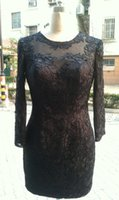 Jewel Neck Short Lace Evening Dress With Long Sleeves Black ...