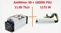 Hot Sell Old AntMiner S9 + 1600W PSU 11.85Th / s deux ventilateurs, 11850Gh / s Asic Miner, Bitcon Miner, 16nm BTC Mining, Consommation 1172w, SHA256 / no