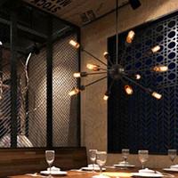 Спутниковые люстры старинные кованого железа огни лампы ресторан свет номер сферические паук лампа E27 Эдисон подвесной светильник бар