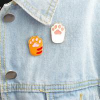 핀 브로치 애완 동물 발 인쇄 에나멜 핀 고양이 개 발 보석 동물 애호가 버튼 아이콘 장식 배지 배낭