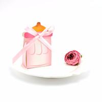 20pcs bébé cadeau boîte cadeau bouteille de bébé bouteille de soins bébé rose bleu sexe révéler première boîte cadeau d'anniversaire sac de bonbons avec ruban de soie