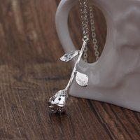 3 Colors Silver Rose Gold Flower Rose Pendant Necklace Chain...