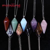 Collar Colgantes Pirámide Colgante de piedra de gema Collar de péndulo Joyería para mujeres Collar de cadena Amuletos Amuleto de joyería para hombre