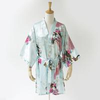الجملة-زائد الحجم xxxl الضوء الأزرق الصينية العرائس الزفاف رداء النوم رايون كيمونو اللباس ثوب سيدة مثير البسيطة ثوب النوم NR182 الأزهار