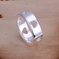 Nova Chegada Coração Vazio Mulheres Esterlina Prata Banhado Anel de Jóias DMSR110, Popular 925 Placa de Prata Anéis de Dedo Band Rings