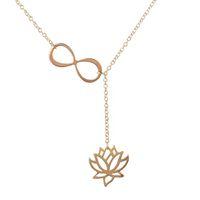 도매 2016 새로운 무한대 및 Lotus Lariat 펜던트 성명 목걸이 여성 긴 체인 콜리어 Femme 쥬얼리 액세서리 무료 배송