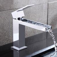 Grifo libre de la cascada del lavabo del envío Latón hecho cromo superficie uno manija Grifo montado cascada de la cubierta. Fregadero de baño Fregadero de cobre BF656