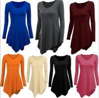 Новые Женская одежда хлопок платье 2016 горячих женщин плюс размер с длинным рукавом туника топ V шеи свободные нерегулярные футболки Dresss S-XXL WY7040