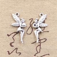 120pcs charms fair angel 26 * 11mm Antique fare pendente fit, vintage argento tibetano, collana braccialetto fai da te