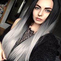 Sexy 2 Tones Black Gray Ombre Long Silky Straight Synthetic ...